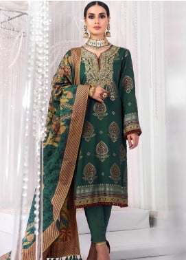 Al Karam Embroidered Jacquard Unstitched 3 Piece Suit AK20FC-5B Emerald Green - Festive Collection