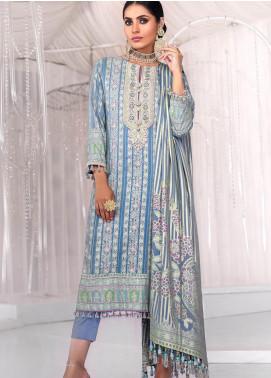 Al Karam Embroidered Cotton Unstitched 2 Piece Suit AK20FC-9D Light Blue - Festive Collection