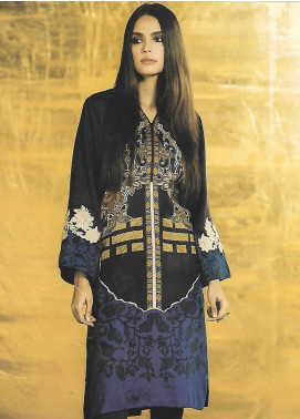 Al Karam Embroidered Viscose Unstitched 2 Piece Suit AK19W FW-40-19 Blue - Winter Collection