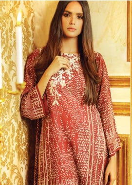 Al Karam Embroidered Viscose Unstitched 3 Piece Suit AK19W FW-10.1-19 Red - Winter Collection