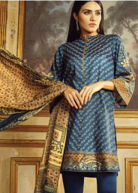 Al Karam Printed Viscose Unstitched 3 Piece Suit AK19W FW-16.1-19 Blue - Winter Collection