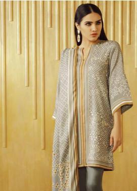 Al Karam Printed Viscose Unstitched 3 Piece Suit AK19W FW-18.1-19 Grey - Winter Collection