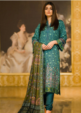 Al Karam Embroidered Viscose Unstitched 3 Piece Suit AK19W FW-19.1-19 Green - Winter Collection