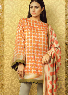 Al Karam Printed Viscose Unstitched 3 Piece Suit AK19W FW-23.1-19 Orange - Winter Collection