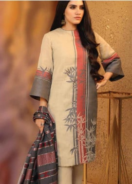 Al Karam Printed Jacquard Unstitched 3 Piece Suit AK19W FW-26-19 Beige - Winter Collection