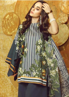 Al Karam Printed Cotton Satin Unstitched 3 Piece Suit AK19W FW-27-19 Blue - Winter Collection