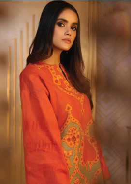 Al Karam Printed Khaddar Unstitched 2 Piece Suit AK19W FW-35-19 Rust - Winter Collection