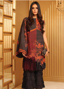 Al Karam Printed Khaddar Unstitched 2 Piece Suit AK19W FW-38-19 Drak Grey - Winter Collection