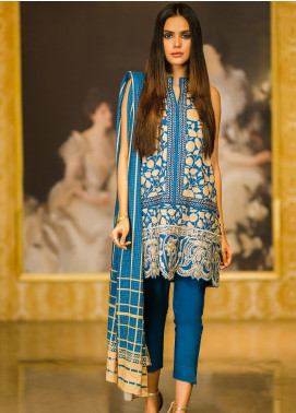 Al Karam Embroidered Viscose Unstitched 2 Piece Suit AK19W FW-38.1-19 Blue - Winter Collection
