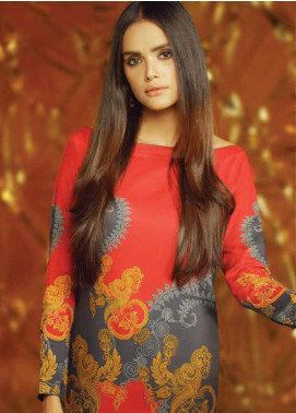 Al Karam Printed Viscose Unstitched 2 Piece Suit AK19W FW-39-19 Orange - Winter Collection