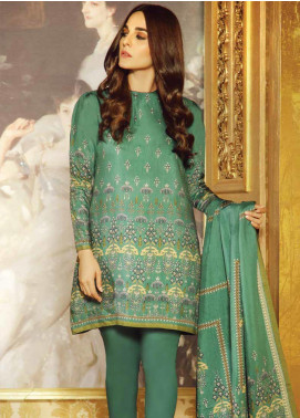 Al Karam Printed Viscose Unstitched 2 Piece Suit AK19W FW-39.1-19 Green - Winter Collection
