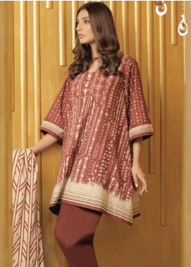 Al Karam Printed Khaddar Unstitched 3 Piece Suit AK19W FW-4.1-19 Maroon - Winter Collection