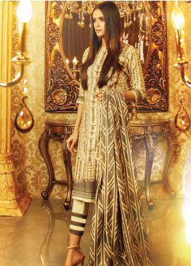 Al Karam Printed Khaddar Unstitched 3 Piece Suit AK19W FW-4.1-19 Olive - Winter Collection