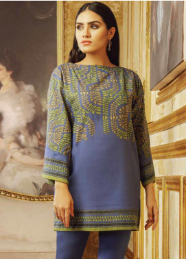 Al Karam Printed Khaddar Unstitched 2 Piece Suit AK19W FW-41.1-19 Blue - Winter Collection