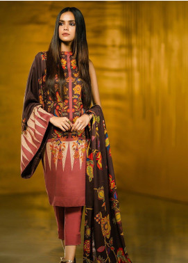 Al Karam Printed Viscose Unstitched 2 Piece Suit AK19W FW-42-19 Dark Brown - Winter Collection