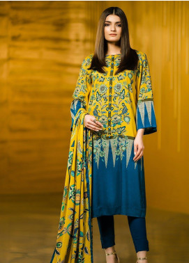 Al Karam Printed Viscose Unstitched 2 Piece Suit AK19W FW-42-19 Yellow - Winter Collection