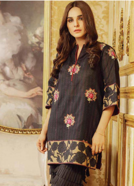 Al Karam Embroidered Khaddar Unstitched Kurties AK19W FW-42.1-19 Black - Winter Collection