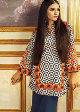 Al Karam Embroidered Khaddar Unstitched Kurties AK19W FW-43.1-19 Blue - Winter Collection