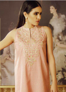 Al Karam Embroidered Khaddar Unstitched Kurties AK19W FW-44.1-19 Light Pink - Winter Collection