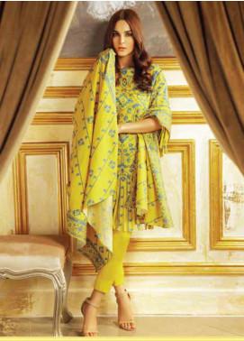 Al Karam Printed Khaddar Unstitched 3 Piece Suit AK19W FW-45.1-19 Yellow - Winter Collection