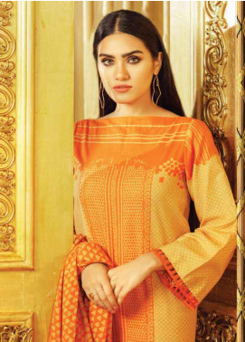Al Karam Printed Khaddar Unstitched 3 Piece Suit AK19W FW-7.1-19 Orange - Winter Collection