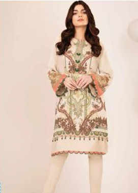 Al Karam Printed Viscose Unstitched 2 Piece Suit AK20W FW-02-20 CREAM - Winter Collection