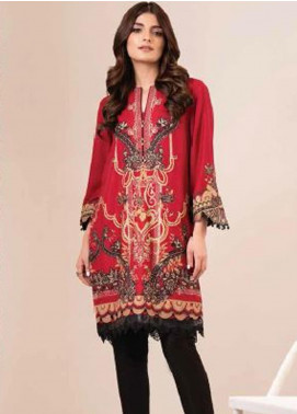 Al Karam Printed Viscose Unstitched 2 Piece Suit AK20W FW-02-20 RED - Winter Collection