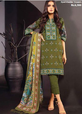 Al Karam Embroidered Khaddar Unstitched 3 Piece Suit AK20W FW-05-01-20 OLIVE GREEN - Winter Collection