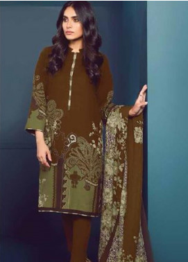 Al Karam Printed Khaddar Unstitched 3 Piece Suit AK20W FW-05-20 BROWN - Winter Collection