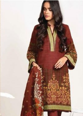 Al Karam Printed Khaddar Unstitched 3 Piece Suit AK20W FW-07-01-20 RED - Winter Collection