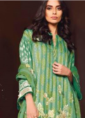 Al Karam Embroidered Viscose Unstitched 3 Piece Suit AK20W FW-08-01-20 SEA GREEN - Winter Collection