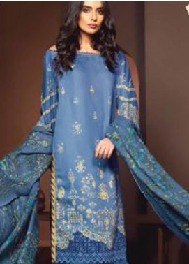 Al Karam Printed Viscose Unstitched 3 Piece Suit AK20W FW-10-01-20 BLUE - Winter Collection