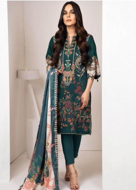 Al Karam Printed Cotton Unstitched 3 Piece Suit AK20W FW-17-01-20 BLUE - Winter Collection