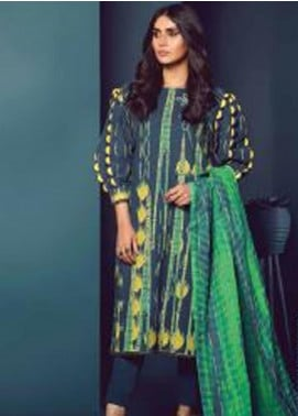 Al Karam Printed Khaddar Unstitched 3 Piece Suit AK20W FW-17-20 BLUE - Winter Collection