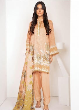 Al Karam Printed Viscose Unstitched 3 Piece Suit AK20W FW-18-20 PEACH - Winter Collection