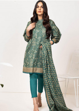 Al Karam Printed Karandi Unstitched 3 Piece Suit AK20W FW-19-01-20 GREEN - Winter Collection