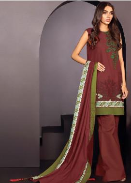 Al Karam Embroidered Karandi Unstitched 3 Piece Suit AK20W FW-20-01-20 RED - Winter Collection