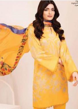 Al Karam Printed Cotton Unstitched 3 Piece Suit AK20W FW-22-20 YELLOW - Winter Collection