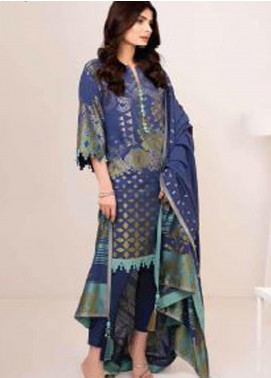 Al Karam Printed Jacquard Unstitched 3 Piece Suit AK20W FW-23-20 BLUE - Winter Collection