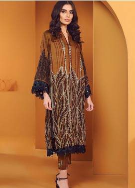 Al Karam Printed Viscose Unstitched 2 Piece Suit AK20W FW-25-01-20 BROWN - Winter Collection