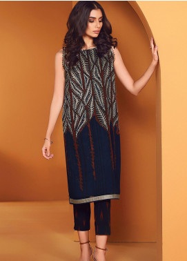 Al Karam Printed Viscose Unstitched 2 Piece Suit AK20W FW-25-01-20 NAVY - Winter Collection