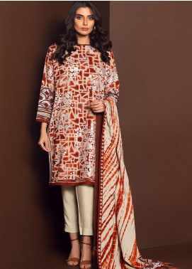 Al Karam Printed Viscose Unstitched 2 Piece Suit AK20W FW-27-01-20 BROWN - Winter Collection