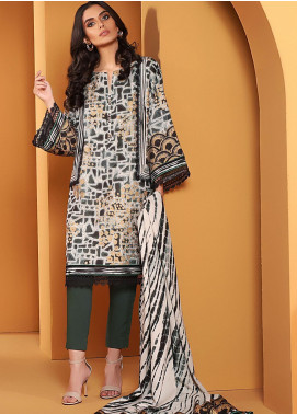 Al Karam Printed Viscose Unstitched 2 Piece Suit AK20W FW-27-01-20 GREY - Winter Collection