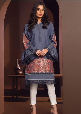 Al Karam Embroidered Denim Unstitched Kurties AK20W FW-29-01-20 BLUE - Winter Collection
