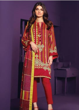Al Karam Printed Viscose Unstitched 2 Piece Suit AK20W FW-29-20 RED - Winter Collection