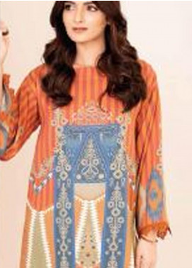 Al Karam Printed Viscose Unstitched 2 Piece Suit AK20W FW-31-20 RUST - Winter Collection