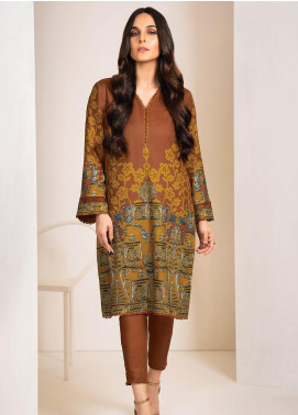 Al Karam Printed Viscose Unstitched 2 Piece Suit AK20W FW-35-20 BROWN - Winter Collection