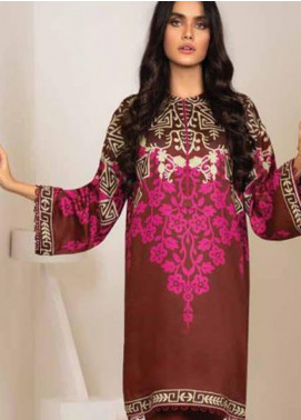 Al Karam Printed Viscose Unstitched 2 Piece Suit AK20W FW-35-20 MAROON - Winter Collection