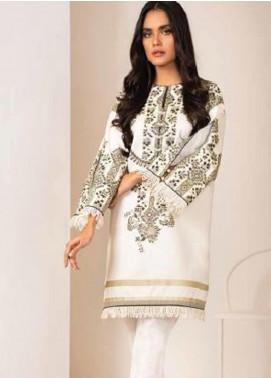 Al Karam Printed Denim Unstitched Kurties AK20W FW-39-20 WHITE - Winter Collection