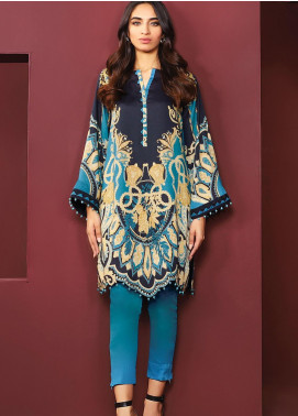Al Karam Printed Viscose Unstitched Kurties AK20W FW-40-20 BLUE - Winter Collection